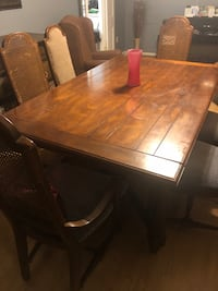 Wooden dining table w/6 chairs