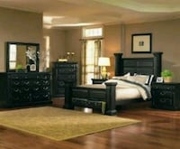 black wooden queen bedroom furniture set Las Vegas, 89149