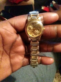 round gold-colored chronograph watch with link bracelet Wichita, 67219