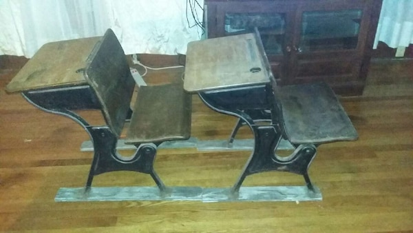 Two Old Schoolhouse Desks
