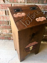 "NICE VTG Handmade & Hand Painted Wood ""Taters"" & Onion Storage Bin In Excellent Condition-Norman PU"