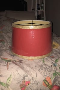 Pottery Barn drum Lampshade Red linen & braided rope