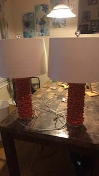 two red and white table lamps Fort Myers, 33967