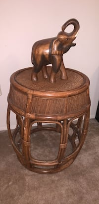 Round Bamboo Vintage Table (elephant not included) Falls Church, 22041