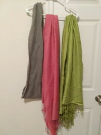 One infinity scarf and two pashminas, $1 each Martinsburg, 25401