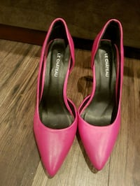 pair of pink leather peep toe heels Airdrie, T4B
