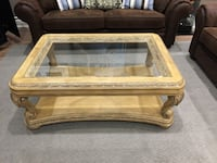 rectangular brown wooden framed glass top coffee table Vaughan, L4L 1A5