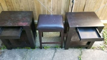 Two night stands and a  leather top stool