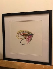 Framed Fly Fishing Art Print Picture