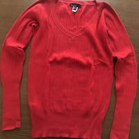 red v-neck sweater London, W14