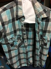 blue gray and black plaid sports shirt Downey, 90241
