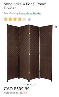 Outdoor/indoor 4 panel divider  Mississauga, L4W 2T9