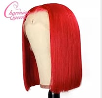 Red Human Hair Wig Malaysian Straight Lace Front Wig 150%Density