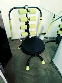 black and yellow rolling armchair