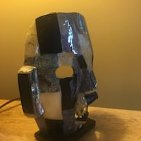 black, gray, and beige marble mask table decor Chantilly, 20152
