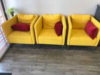 Yellow modern Chairs with red memory foam pillow Ontario, 91761