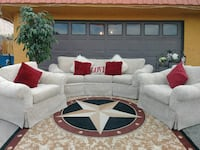 white and red sectional couch