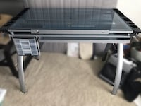 Architecture/studio/craft desk. Blue Glass. Grey/Silver legs McLean, 22102