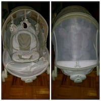 baby's white and gray cradle and swing Sainte-Catherine, J5C 1G6