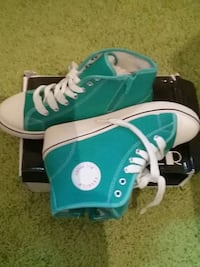 teal-and-white Mode Alle Sport High Top Turnschuhe