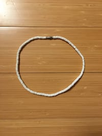 Puka Shell Necklace White Round  Guelph