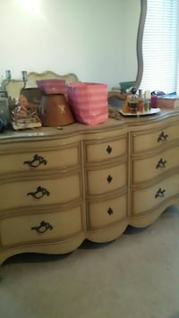 brown wooden 6-drawer dresser WASHINGTON