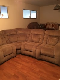 See all photos!  Grey Suede Recliner sofa. Can be divided into three sections! New Orleans, 70127