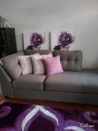 Chaise sofa, area rug and flower paintings.