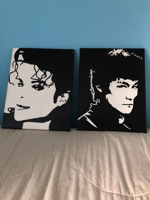 Black and white painting Mj (Bruce Lee sold)