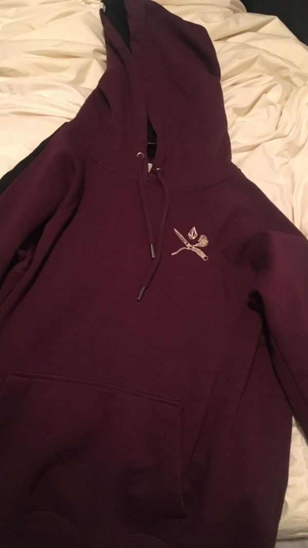 Maroon and black volcom sweater