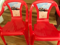 two red plastic armchairs with brown wooden base ロックビル, 20851