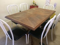 Wooden Dining Table with 6 Metal Chairs