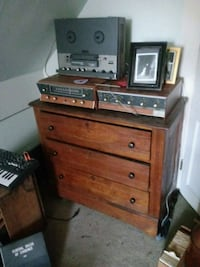 Antique dresser ..vintage stereo reel to reels .. Dover