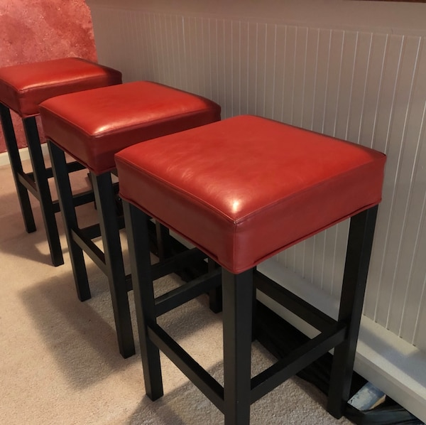 Fine Euc Bar Stools 3 Solid Wood With Red Leather Seats Machost Co Dining Chair Design Ideas Machostcouk
