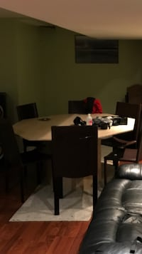 rectangular brown wooden table with six chairs dining set Brampton, L7A 2C8