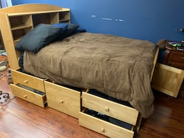 "Teens Storage ""Captains"" Bed with Matching Desk and Shelves."