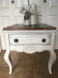 white and brown wooden side table Edmonton, T6R 3J1