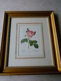 brown wooden framed painting of green and red flowers Plainview