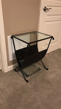 black metal framed and clear glass square side table with magazine rack Manassas, 20112