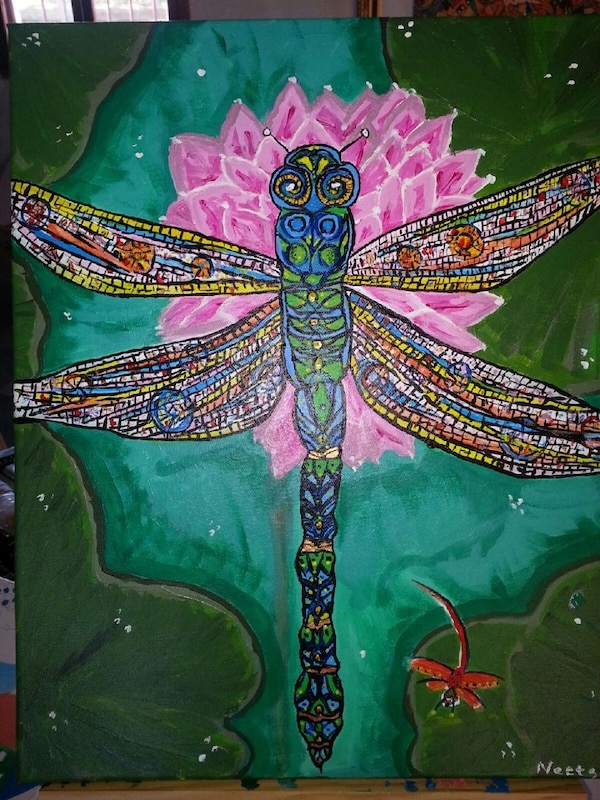 painting of dragonfly on top of lotus flower