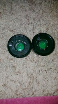 two black-and-green coaxial speakers 1465 mi