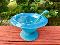 Gorgeous Cerulean Frosted Glass Bowl with Scoop Spoon Falls Church, 22046