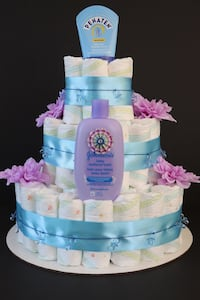 Blue and Purple Diaper Cake with Pacifiers Toronto, M2K 3C2