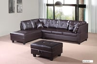 black leather sectional sofa with ottoman