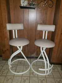 two white leather bar stools Randallstown, 21133