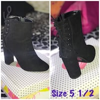 unpaired size 5.5 black suede chunky heeled ankle boot collage Fresno, 93702