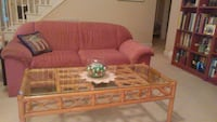 Two loveseats & coffee table