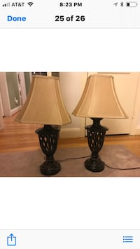 Two black-and-white table lampsBrown and beige table lamps 54 mi