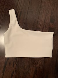 White one shoulder tank top