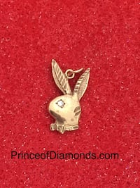 Rose gold plated play boy bunny pendant with cubic stone